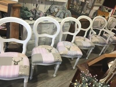 Pink and Grey Patchwork Balloon Back Dining Chairs, Kitchen Chair, Chalk Paint,
