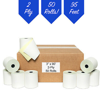 "(50)-3 ""x 95'- 2-PLY CARBONLESS REGISTER-KITCHEN-RECEIPT POS PAPER ROLLS-USA"