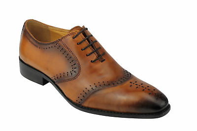 Mens Real Leather 2 Tone Tan Formal Lace up Dress Shoes UK Size 6 7 8 9 10 11 12