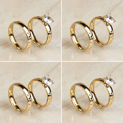 4 Pair/Lot 18K Gold Plated Stainless Steel Women's Cut CZ Wedding Band Rings Set