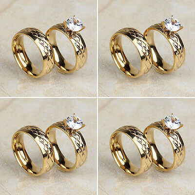 Wholesale Lot 4Pair Stainless Steel Diamond Simulants 18K Gold Wedding Rings Set