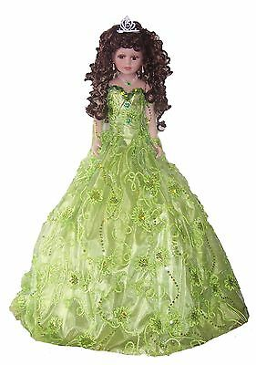 "28"" Quinceanera Sweet 15 Spanish Porcelain Umbrella Dolls Lime Green  (EQDoll28)"