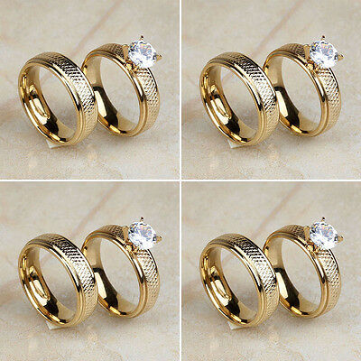 Wholesale Lot 4Pair Stainless Steel Women Gold Plated CZ Wedding Band Rings Set