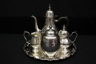 7pc Vintage EPNS Silverplate EISENBERG LOZANO Tea / Coffee Set w/Creamer & Sugar