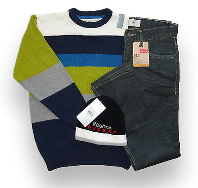 NWT Boy's Fall Winter Clothes Lot Size 10-12 years: Jeans Pullover Hat