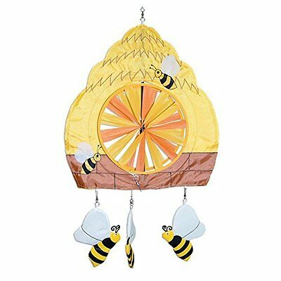 "Hanging Wind Spinner Beehive Bee Pinwheel Yard Decor Mobile Nylon Yellow 15""x13"""