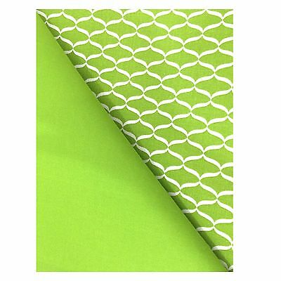Chelsea Home Reversible Cloth Place Mats Cotton Fabric Lime Green Set of 4