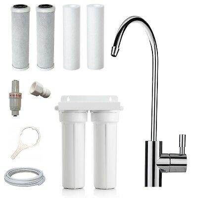Twin Undersink Pure Water Filter System   Carbon + Sediment + Euro Faucet Tap