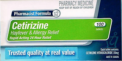 ===> P/f Cetirizine 10Mg 100 Tablets Hayfever & Allergy = Zyrtec
