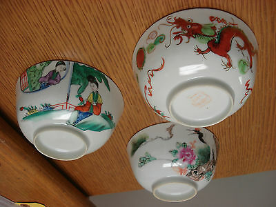Three antique hand painted rice bowls GEISHA, DRAGON & CRANE mixed conditions