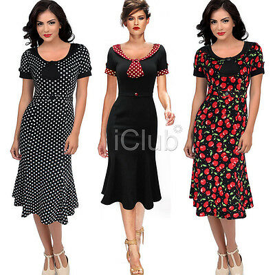 Women's Vintage 1950's Retro Rockabilly Evening Party Swing Dress Polka Cocktail