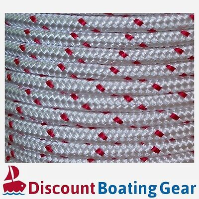 100m x 12mm Double Braid Polyester Rope Marine Line Boat Mooring RED FLECK