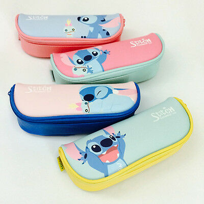 BNWT Cute Colorful Stitch Faux Leather Zip Around Pencil Case Pen Stationery Bag