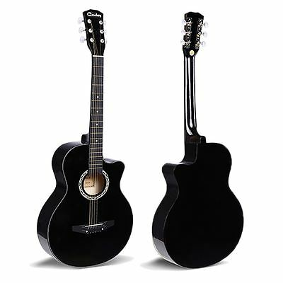 """38"""" Black Acoustic 6 String Guitar For Beginners School Student Adults Xmas Gift"""