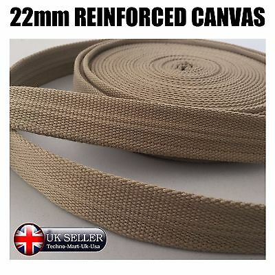 22mm REINFORCED CANVAS TAPE CREAM HEAVY DUTY. BUNTING WEBBING BELTS STRAPS BAGS