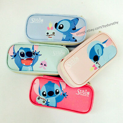 BNWT Cute Stitch Faux Leather Square Pencil Case Pen Stationery Organizer Bag