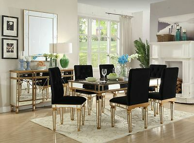 Marble Dining Table Mirrored Gold 6 Chairs Black Bronze Velvet Set