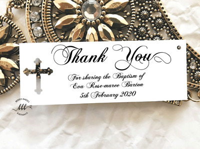 10 White Gift Tags Personalised Christening Confirmation Baptism Holy Communion