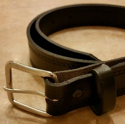 School Kids stitched genuine LEATHER BELT Silver Buckle unisex Made in America