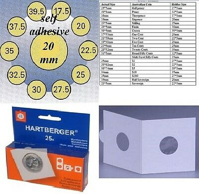 25 HARTBERGER self adhesive  2 x 2 coin holders:20 mm  made in the Netherlands