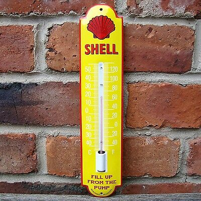 SHELL ENAMEL THERMOMETER FILL UP FROM THE PUMP logo garage petrol oil VAC190