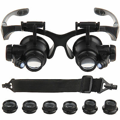 Watch Repair Loupes Glasses Binocular Magnifying Glass LED Craft Fix Magnifier