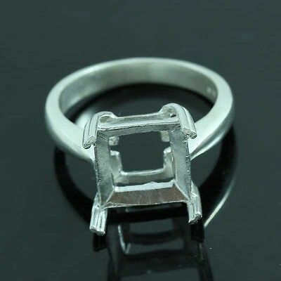 10x10 Square cut ring setting sterling silver 925 #0275