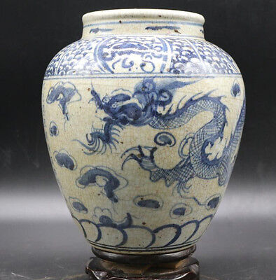 Song Blue and white Dragon opening piece big jar
