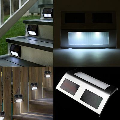 12 x Outdoor Solar Powered LED Stair Step Wall Fence Security Garden Lights Lamp