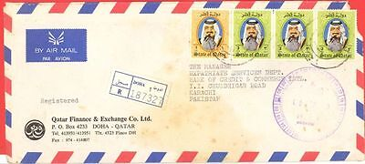 Qatar 4 stamp used on Registered cover to Pakistan   gtc