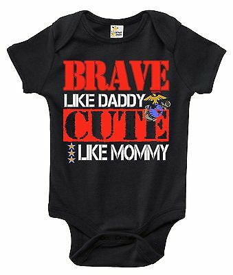 Baby Bodysuit - Brave Like Daddy Cute Like Mommy Marines Baby Clothes for Infant