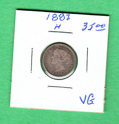 1882H Canada - 10 Cents Silver Coin - VG