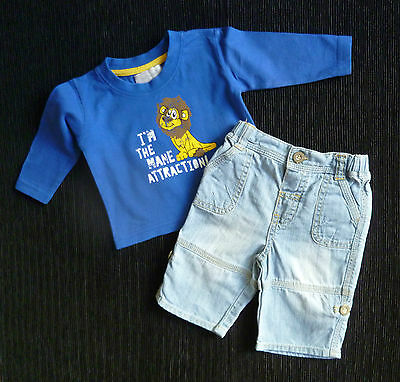 Baby clothes BOY 0-3m outfit mid-blue lion long sleeve top/light denim trousers