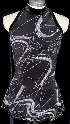 BLACK AND SILVER SPARKLE Ice Skating Dress / LADIES ADULT SMALL
