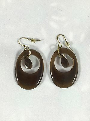 Sweet Cocoa Brown Glass Dangle Earrings, Crystal Accent, Gold Metal Wires