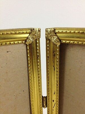 "Vtg 8x10"" Art Deco Ornate Corners Double Hinged Picture Frame Gold Tone Metal"