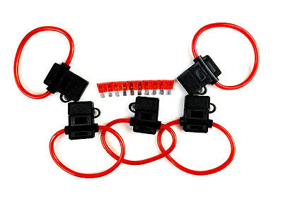 5 Pack 10 Gauge Inline ATC Fuse Holder+40 AMP Fuse /& Cover New Car Truck Install