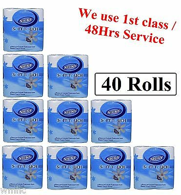 40 Rolls Of Nicky Soft Touch Toilet Tissue Paper Rolls White 2 Ply Tissue