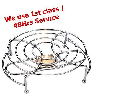 Round Food Warmer Rack Stand Chrome Use with One Tea Light Candles Chafing