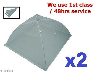 2x Net Food Cover/Umbrella Foldable Ideal to Keep Hygienic Food Environment 30cm