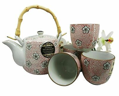 Red P Japanese Cherry Blossom 20oz Ceramic Tea Pot and Cups Set Serves 4 People