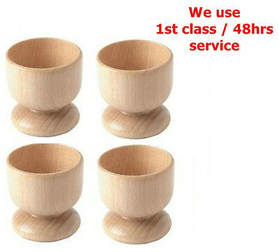 Beech Wood Wooden Boiled Egg Cups Holder Set Of 4 Ideal For Serving / Table