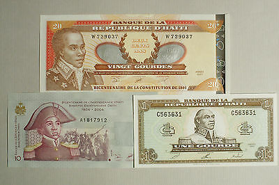 3 different Haiti paper money 1, 10 and 20 Gourdes Au-Unc.