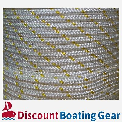 100m x 6mm Double Braid Polyester Rope - Marine/ Boat Grade - GOLD FLECK