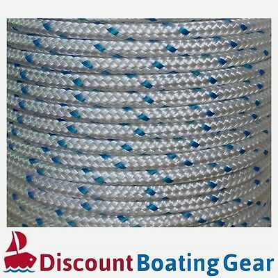 100m x 8mm Boat Rope BLUE FLECK  Double Braid Polyester Marine Line Mooring