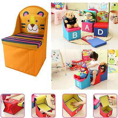 KIDS Storage Toy Box MULTI PURPOSE Foldable CHAIR Organiser Chest Seat Children