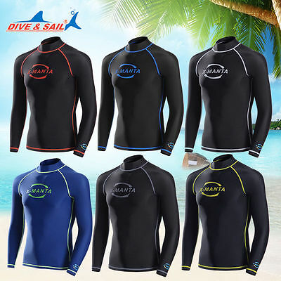 Men Scuba Surf Dive Suit Snorkeling Long Sleeve T-Shirt Swimwear Rash Guard Tops