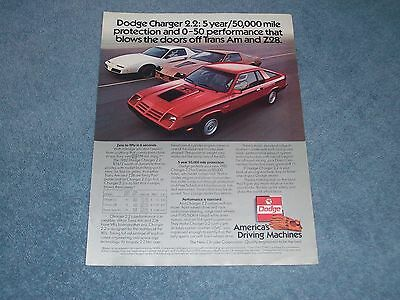 """1982 Dodge Charger 2.2 Vintage Color Ad """"...Performance that Blows the Doors Off"""