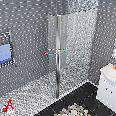 800-1200x1900 Walk in Shower Screen Fixed Panel with Extra 300mm Swing Flipper