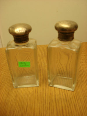 PAIR 1902 Chased Sterling and Cut Glass Cologne Bottles Vanity Shaving Jars S1